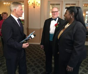 EPIC Award Honoree Steve Adubato speaks with Benjamin Evans, DD, DNP, RN, APN, chairman of the Institute for Nursing and NJSNA president-elect and Norma Rodgers,  NJSNA president.