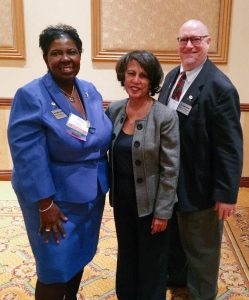(L-R) Norma Rodgers, BSN, RN, CCRA, NJSNA president, Dr. Beverly Malone, PhD, RN, FAAN, CEO, National League for Nursing, and Dr. Benjamin Evans, DD, DNP, RN, APN, NJSNA president elect.
