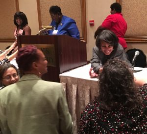 Dr. Beverly Malone, PhD, RN, FAAN, CEO, National League for Nursing, speaks with 114th Annual Convention attendees after her keynote address.