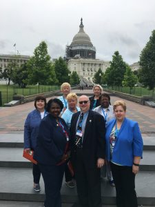 Norma Rodgers, president, Dr. Benjamin Evans, president-elect and Judith Schmidt, CEO and New Jersey State Nurses Association members went to Capitol Hill on June 23 to advocate for gun violence study, safe staffing, workforce development funding and access-to-care for veterans.