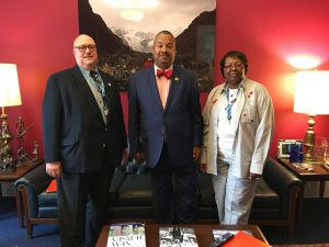 Dr. Benjamin Evans, president-elect of NJSNA (left) and Saundra Austin-Benn, NJSNA Board of Directors (right) met with U.S. Rep Donald Payne, Jr. (D-10) during the American Nurses Association Lobby Day to advocate for gun violence study, safe staffing, workforce development funding and access-to-care for veterans on June 23.