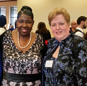 Norma L. Rodgers, BSN, RN, CCRA, president, NJSNA, left, at the recognition dinner with Judith Schmidt, RN, MSN, ONC, CCRN and CEO of NJSNA.