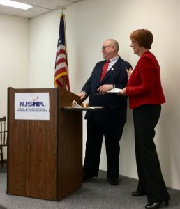 Benjamin Evans, DD, DNP, RN, APN, PHMCNS-BC, newly installed president of NJSNA and Kate Gillespie, MBA RN NE-BC, president-elect of NJSNA, share a moment during the installation ceremony at NJSNA headquarters in Trenton.