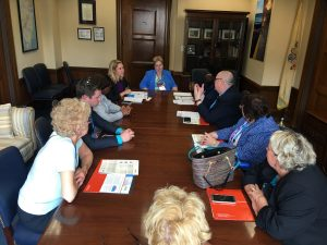 Members of NJSNA met with Ashley Eden, senior education and health policy advisor in U.S. Sen. Cory Booker's Capitol Hill office to advocate for gun violence study, safe staffing, workforce development funding and access-to-care for veterans on June 23.