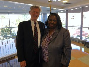 Congressman Frank Pallone (D-6) and New Jersey State Nurses Association President Norma Rodgers, BSN, RN, CCRA at Robert Wood Johnson University Hospital.