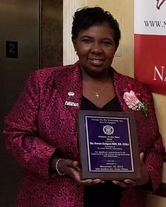Norma Rodgers, president of the New Jersey State Nurses Association (NJSNA), was honored as Citizen of the Year by the Brothers of Eta Pi Chapter of Omega Psi Phi Fraternity at the Rutgers University Medical School in Newark on Nov. 19.