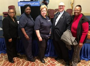 Linda Arnold, NJSNA Board of Directors; Norma Rodgers, NJSNA immediate past president; Judith Schmidt, NJSNA CEO; Dr. Benjamin Evans, NJSNA president and Saundra Austin-Benn, NJSNA Board of Directors at a rally to support the protection of affordable access to healthcare.