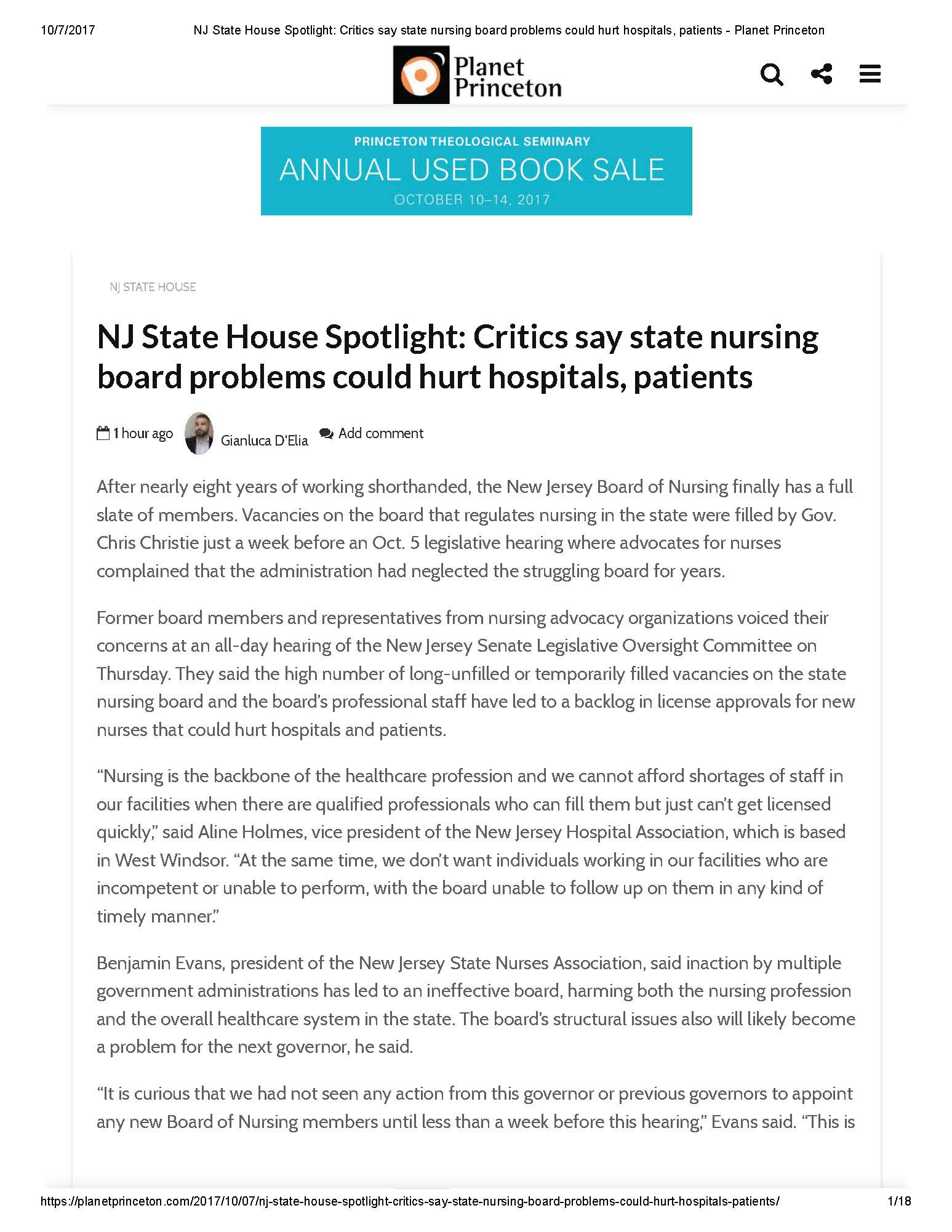 NJ State House Spotlight: Critics say state nursing board problems